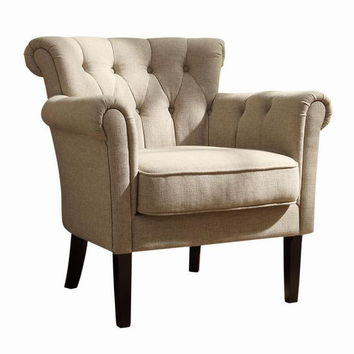 Home Elegance 1193F1S Barlowe collection oatmeal fabric upholstered tufted back accent chair with dark cherry legs