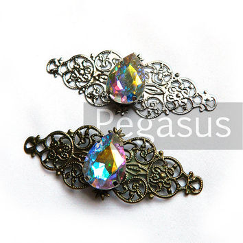 Elven crystal Pendant (1 Pieces)(2.5 inches)  Aurora borealis Filigree wrap elvish pendant for fantasy jewelry and weddings