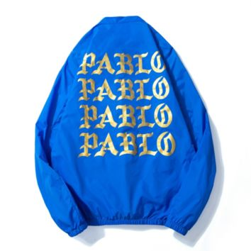 Pabio summer leisure sports back letters print men and women aviator jackets dust coat Blue