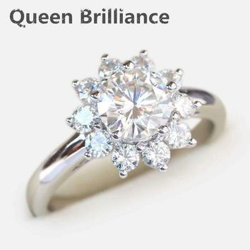 2 Carat tcw No Less Than GH Engagement Wedding Lab Grown Moissanite Diamond Rings 14K 585 White Gold  Test Positive Diamond