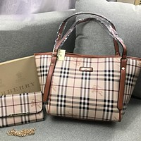 Perfect Burberry Women Fashion Leather Satchel Tote Shoulder Bag Handbag