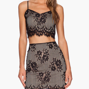 Sleeveless Crop Top and Mini Skirt Net Mesh and Floral Eyelash Lace Dress