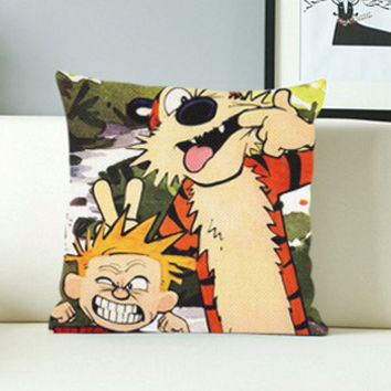 Calvin and Hobbes Cute  - Design Pillow Case with Black/White Color.