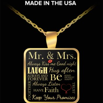 Mr & Mrs pendant necklace - keep your promises quote and more