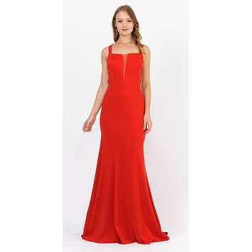 Red Long Prom Dress with Strappy Open-Back