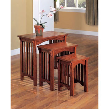Coaster 901049 3-Piece Mission Style Occasional Nesting Side Table Set Oak