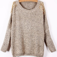 Apricot Batwing Sleeve Rivet Shoulders Loose Sweater one size (Size: M, Color: Apricot)