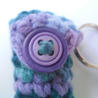 Purple and Green Lip Balm Holder, Crochet Lip Balm Cozy, Chapstick case, Summer keyring, Handmade Lanyard, Party Favor, Gifts for Her,