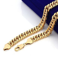 Massive 18K Gold Plated Men's Necklace Double Curb Link Chain 60cm(23.6 Inches) ,10MM,115g