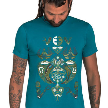 Fractal T shirt-Geometric Pattern T shirt-Ayahuasca Clothing-Graphic mens Shirt-Space t shirt-Cosmic T shirt-Shaman T shirt-Universe