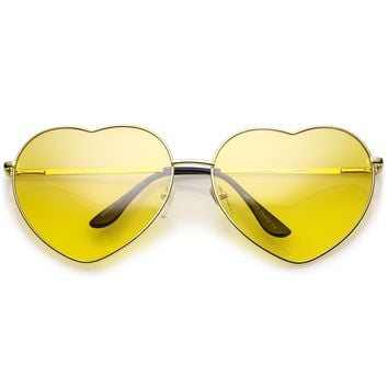 Oversize Metal Heart Sunglasses With Thin Metal Arms Colored Lens 70mm