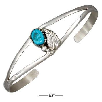 Sterling Silver Bracelet:  Leaf And Stabilized Turquoise Stone Open Wire Cuff Bracelet