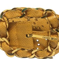 Chanel - Leather Perforated Belt - Yellow