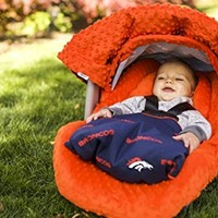 NFL Denver Broncos The Whole Caboodle 5PC set - Baby Car Seat Canopy with matching accessories