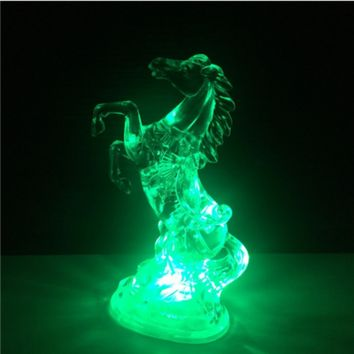 7 Multi-Color Changing Leaping Horse LED Lamp