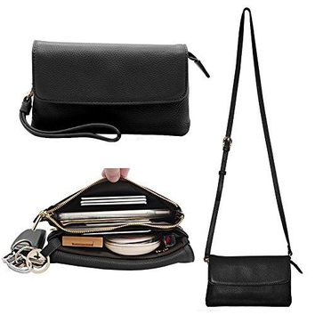 Womens Leather Wristlet Clutch Crossbody Cell Phone Wallet