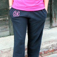 MONOGRAMMED - Heat Press Vinyl - Sweatpants Open Bottom Jogging Pants