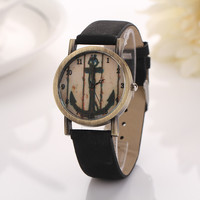 Vintage Anchor Design Leather Watch with Gift Box