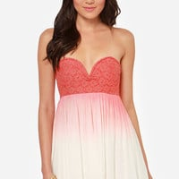 Ombre-zen Beauty Strapless Coral Red Dress