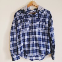 Cara Blue Hooded Flannel