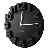 Creative Round Simple 3D Digital Wall Clock   black