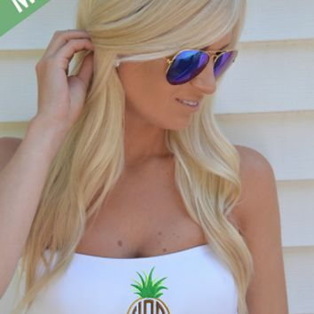 Monogrammed Pineapple Bathing Suit Bandeau Tube Top