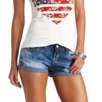 Acid Wash Cuffed Denim Shorts by Charlotte Russe - Acid Wash Denim