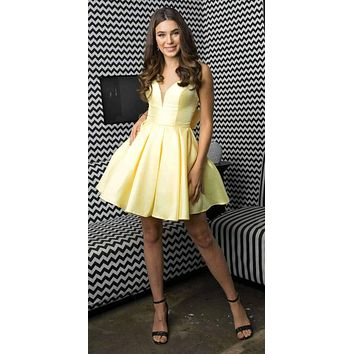 Short Yellow Damas Party Dress A-Line Removable Back Bow