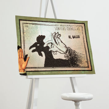 Mexican Shadow Puppet Show Print El Gallo Decor Giclee Print on Cotton Canvas and Paper Canvas Poster Home Wall Art
