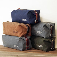 Groomsmen Gift, Personalized Men's Toiletry Bags, Embroidered Monogram, Waxed Cotton Canvas and Leather Dopp Kit, Handmade