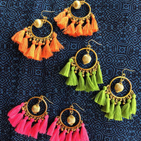 Bohemian Tassel Earrings for  Summer Colorful accessories Gift Red tassel earrings Bridesmiad Gift