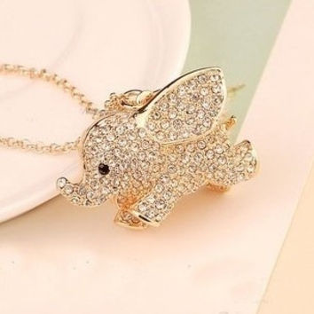 Full Rhinestone Golden Elephant Necklace = 1651427396