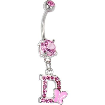 "Pink Gem Butterfly INITIAL Dangle Belly Ring - LETTER ""D"""