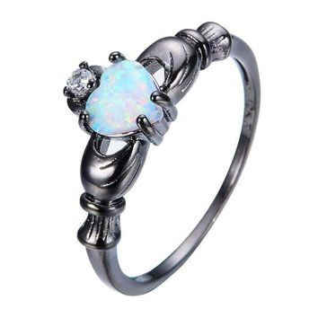 Black Gold Women Heart Opal Lover's Promise Wedding engagement Rings