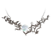 Alchemy Gothic Flying Bats & Moon Eventide Pendant Necklace *LAST CHANCE*