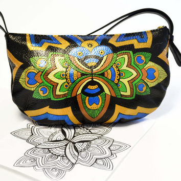 Peacock Leather Purse - Hand painted Purse- Peacock small Bag - Colorful Bag