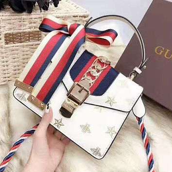 GUCCI High Quality Trending Women Stylish Leather Handbag Tote Shoulder Bag Crossbody Satchel White