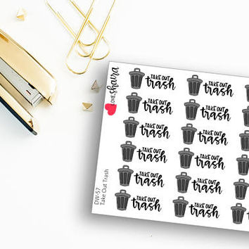 Take Out Trash | Trash Day, Recycling, Mom Life, Household Chores, Cleaning, Trash Can Bin - Hand Drawn and Hand Lettered Planner Stickers