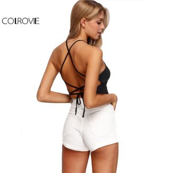 COLROVIE Sexy Halter Backless Summer Style Women Camisole New Arrival 2017 Girls Casual Crop Tops Ladies Black Lingerie