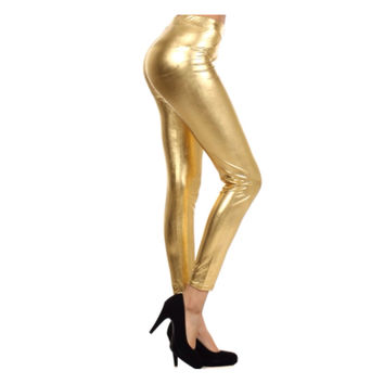 They're Back! Plus Size Fabulous Metallic Gold Leggings