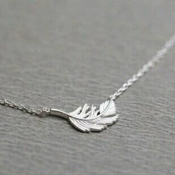 Sterling Silver Necklace - Feather Necklace - Bridal Necklace - Pendant  Necklace - Dainty Necklace - 09562e7ac48b