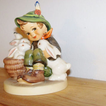 "Vintage MI Hummel ""Playmates"" Boy with 3 Rabbits Collectible Figures Figurines Porcelain"