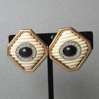 1970's Art Deco Revival Vintage Park Lane Ivory Lucite & Rhinestone Pierced Earrings
