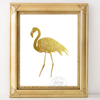Gold flamingo print, art, instant download, gold foil, wall art, flamingo art print, flamingo decor, gold wall art, faux gold foil, wall art