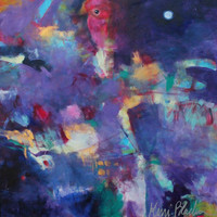 """Abstract Acrylic Painting on Canvas, Intuitive Art, Colorful, Purple, Acrylics, Original Wall Art """"Once in a Blue Moon"""""""