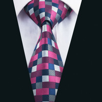 New Arrival Fashion Men`s Tie Rose Red Plaid Necktie Silk Jacquard Ties For Men Business Wedding Party