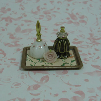 Dollhouse Miniature Vanity Tray with Bottles & Rose