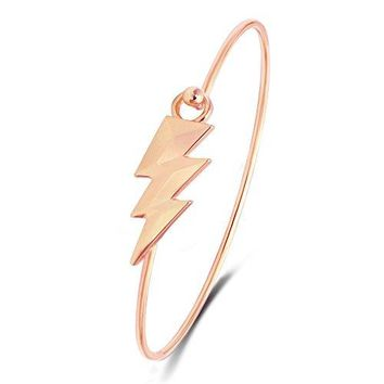 TUSHUO Lightning Bangle Nature Gift for Lover Hook Clasp Wire Bangle Bracelet