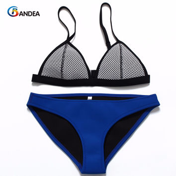 BANDEA 2017 New Mesh Swimwear Women Sexy Bikini Set Low Waist Swimsuit bikinis de las mujeres Biquini HA205G