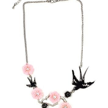 Sparrow Necklace Crystal Silver Tone Flower Floral Branch Swallow Bird Pendant NN23